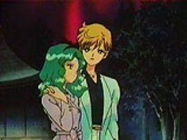 Haruka with arm around Michiru
